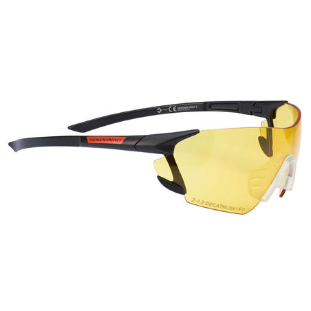 CLAY PIGEON SHOOTING PROTECTIVE GLASSES 100, YELLOW STRONG LENSES, CATEGORY 1