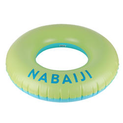 大尺寸充氣式游泳圈92 cm(含快速充氣吹嘴)-黃色/藍色。
