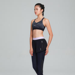 Women's Cardio Fitness Sports Bra 500 - Mauve/Blue Print