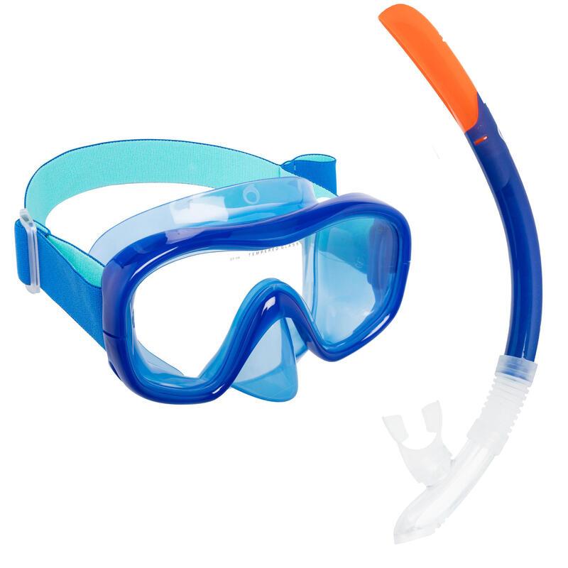Kit Buceo Máscara Tubo Snorkel SNK 520 Adulto Azul
