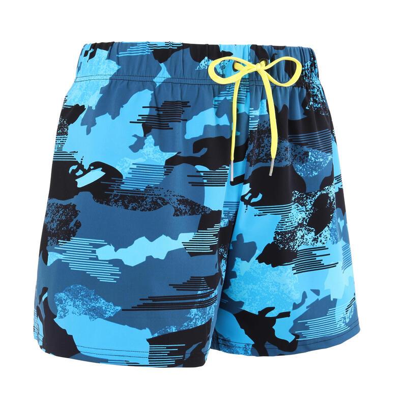 男款四角泳褲100-迷彩藍