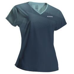 Tshirt de padel femme PTS 500 W Bleu Vert