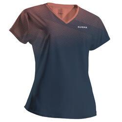 Tshirt de padel femme PTS 500 W Bleu Orange