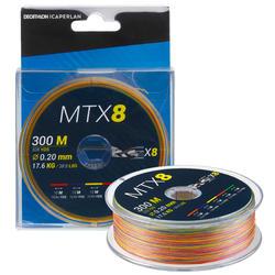 Gevlochten trens voor zeevissen 8 strengen MTX8 MULTICOLOR 300 M 20/100