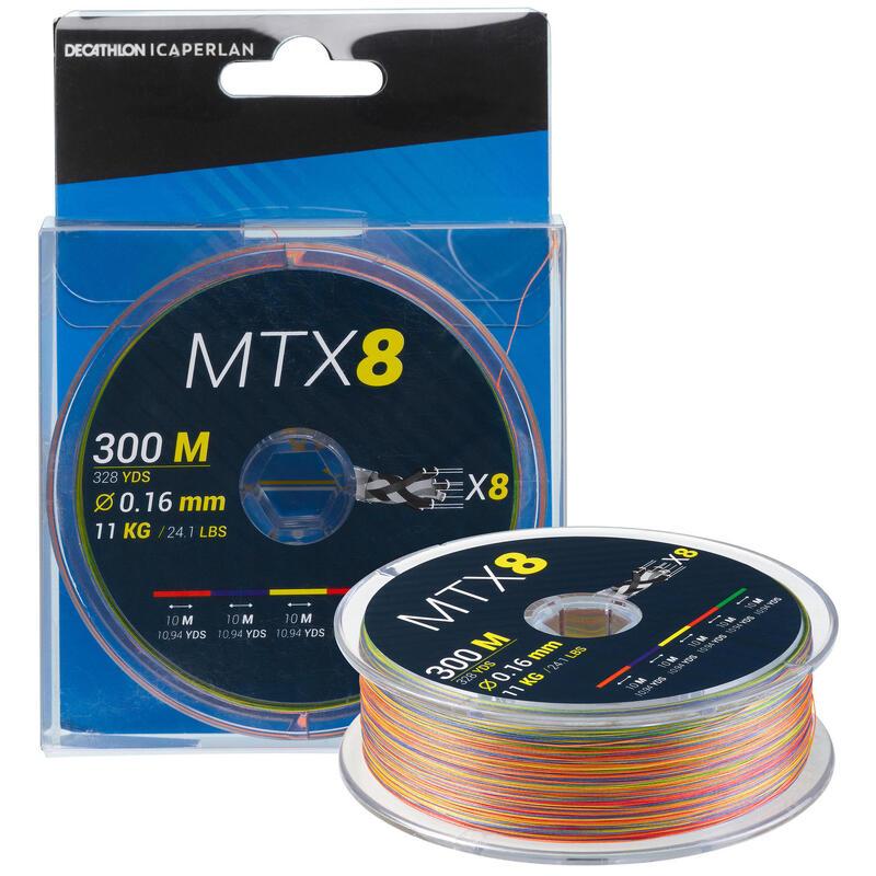8-strand braid MTX8 MULTICOLOUR 300M 16/100 Sea fishing