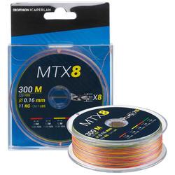 Gevlochten trens voor zeevissen 8 strengen MTX8 MULTICOLOR 300 M 16/100
