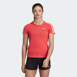T-Shirt Adidas ESSENTIALS 3 BANDES femme en coton rose