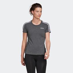 T-shirt voor dames ESSENTIALS 3 STREPEN katoen grijs