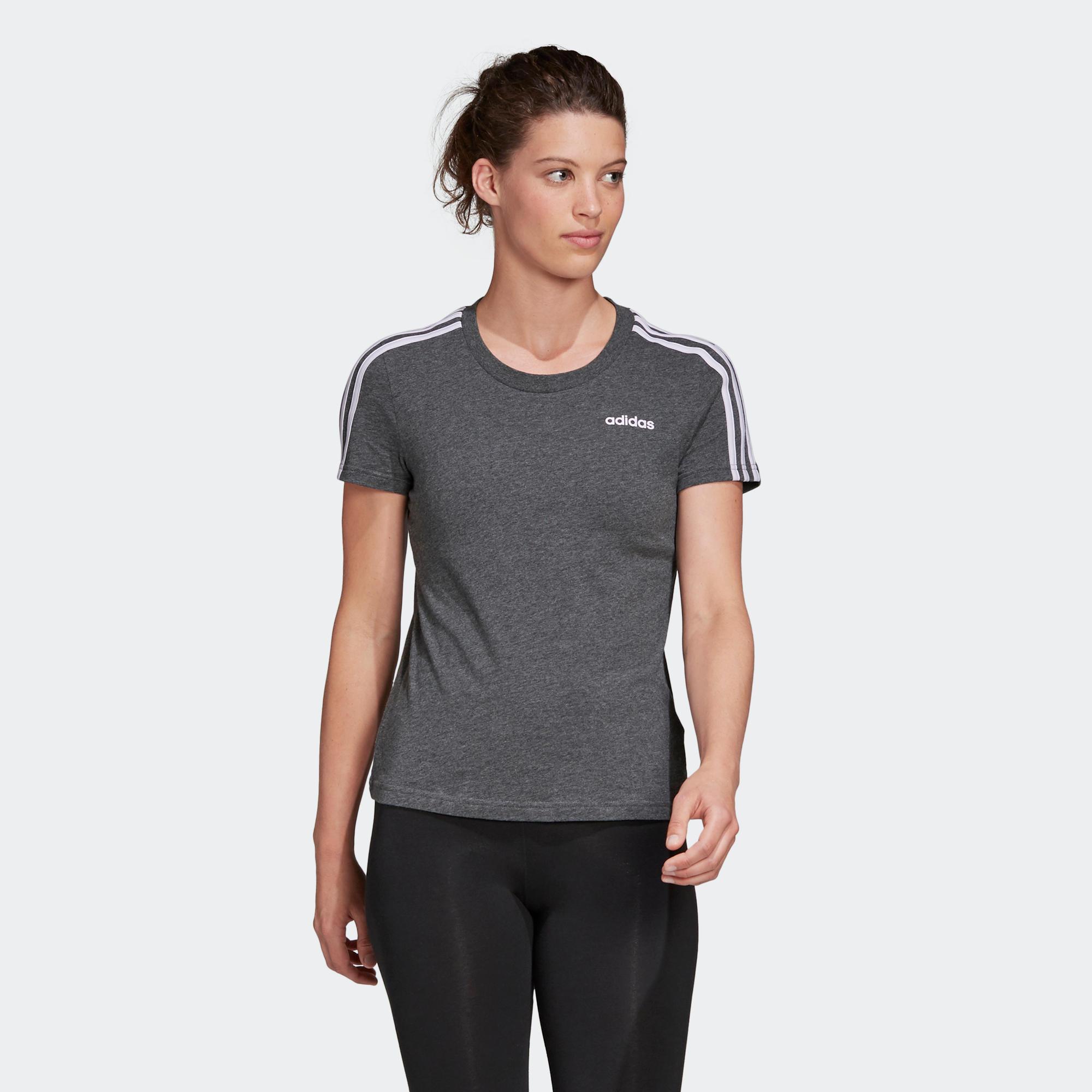Tricou Adidas 3S gri damă imagine