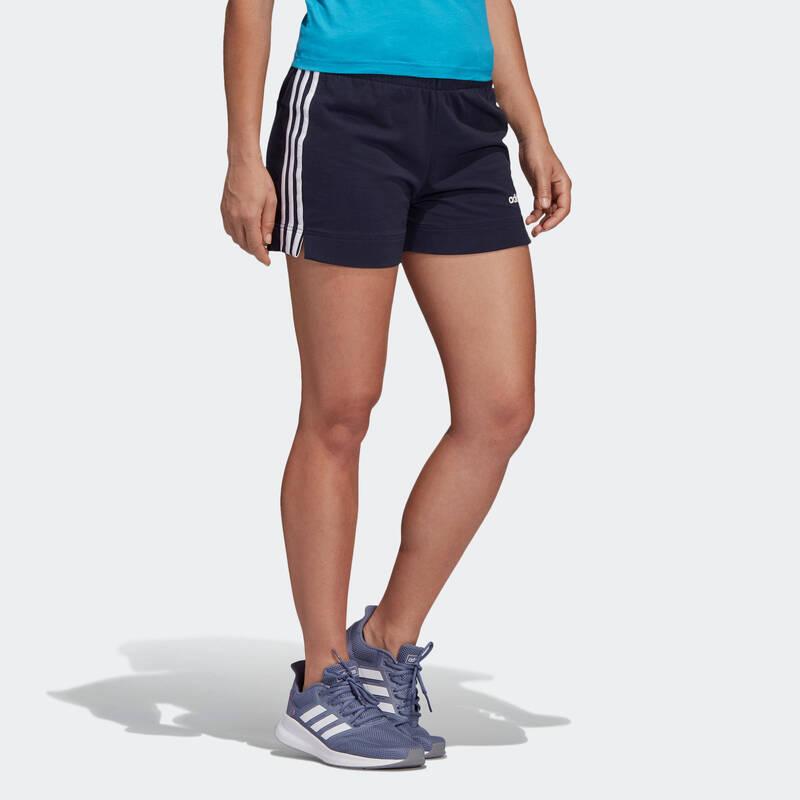 DÁMSKÁ TRIČKA, LEGÍNY, KRAŤASY Fitness - DÁMSKÉ KRAŤASY ADIDAS MODRÉ ADIDAS - Fitness oblečení a boty
