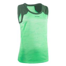 Mouwloos rugbyshirt voor dames R500 groen