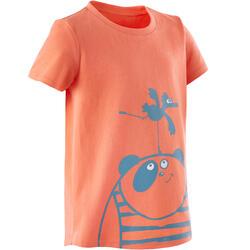 T-shirt de Ginástica para Bebés Menina e Rapaz 100 Laranja/Turquesa