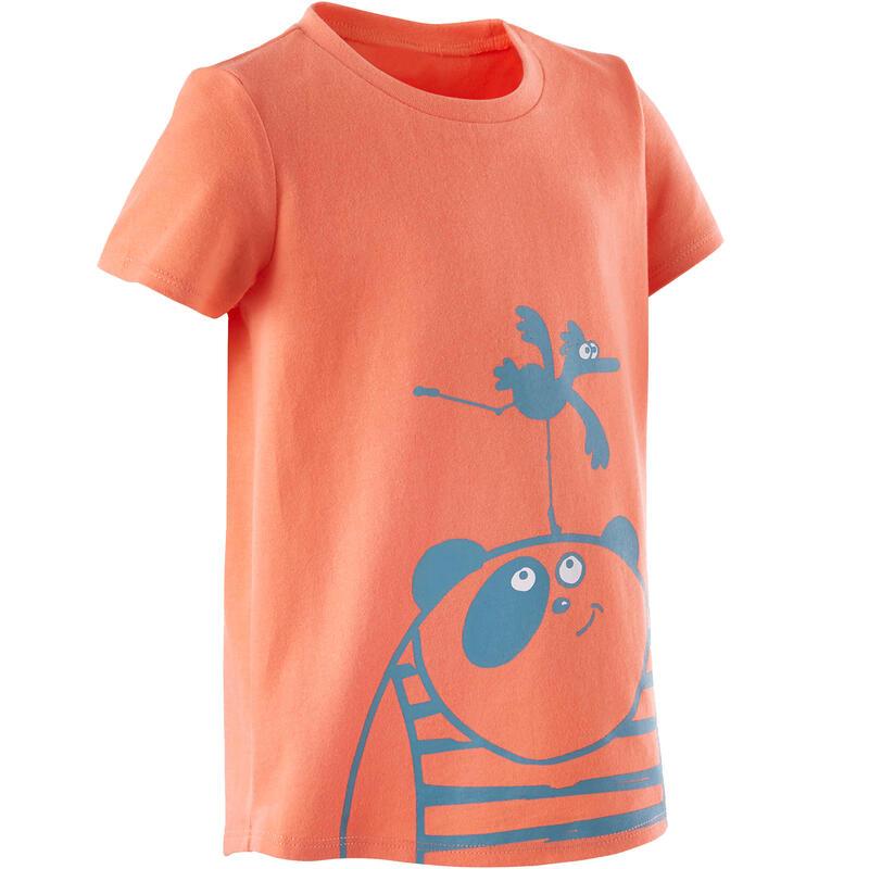 Basic T-shirt voor kleutergym oranje/turquoise