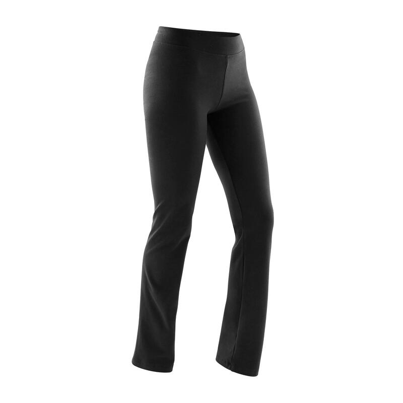 Legging fitness long coton extensible ceinture basse femme - Fit+ noir
