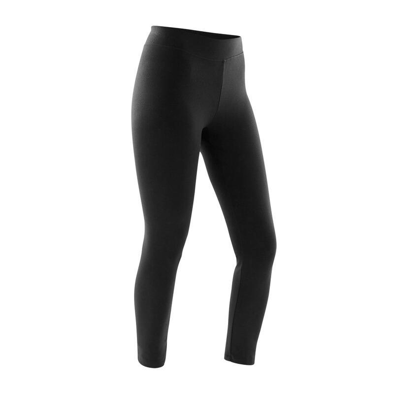 Leggings 7/8 cotone donna FIT+ 500 slim neri
