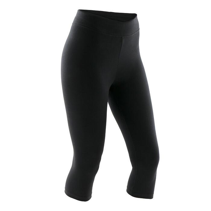女款修身七分褲Fit+ 500 - 黑色