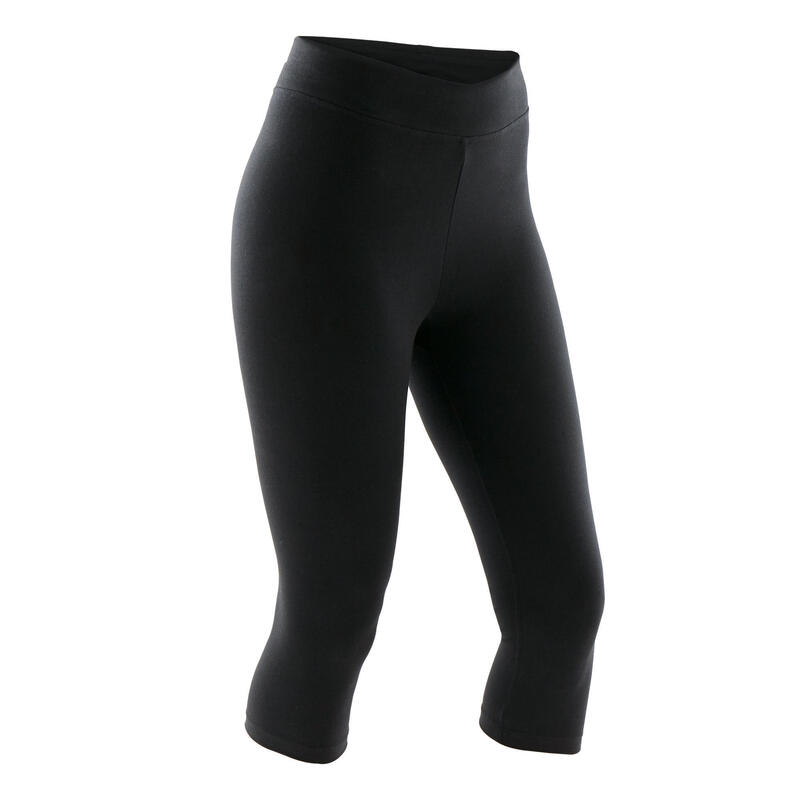 Cotton Fitness Cropped Bottoms Fit+ - Black