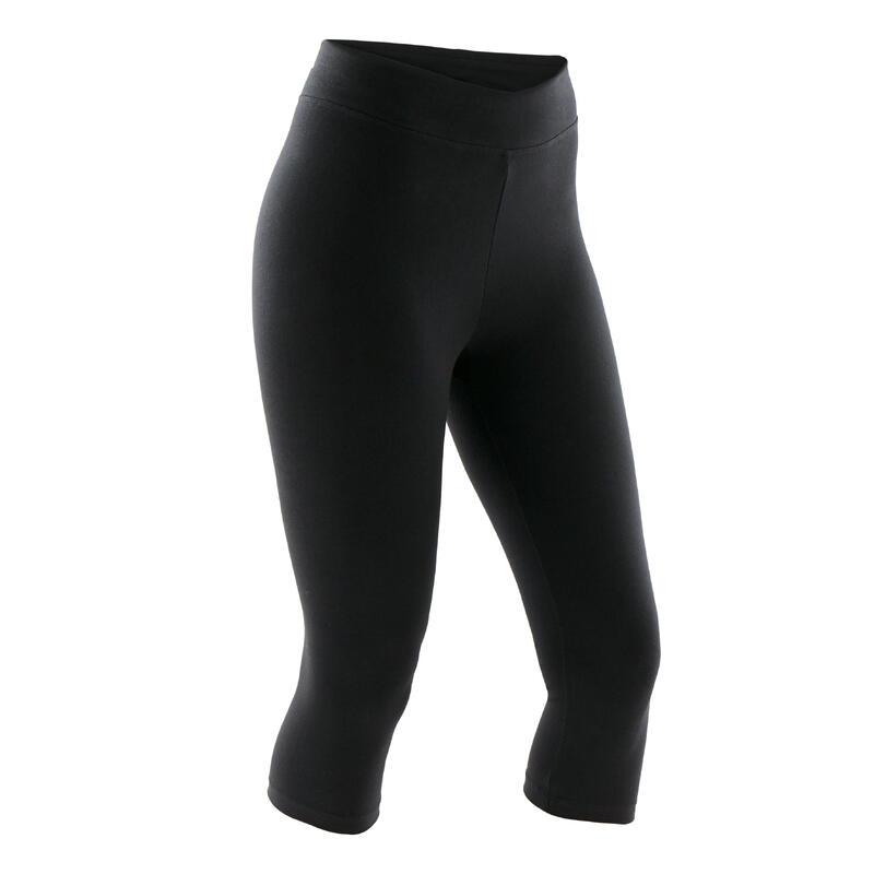 Slim-Fit Majority Cotton Fitness Cropped Bottoms Fit+ - Black