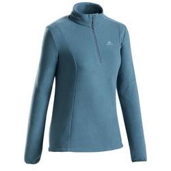 Women's mountain walking fleece MH100 - Blue grey