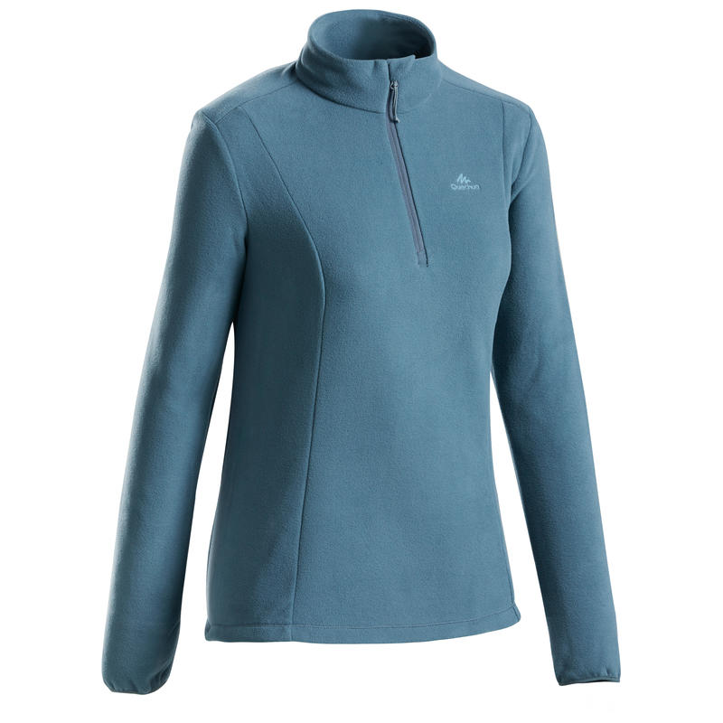 เสื้อผ้าฟลีซผู้หญิงสำหรับใส่เดินป่าบนภูเขารุ่น MH100 (สีเทา)
