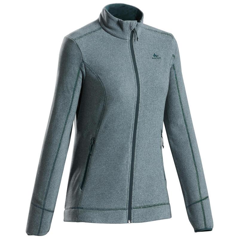 Fleece jas voor bergwandelen dames MH120 lariksgroen
