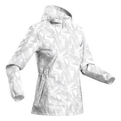 Casaco impermeável de caminhada na natureza - Raincut Fecho - Mulher Branco