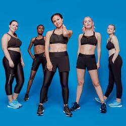 2合1跑步短褲/緊身褲RUN DRY+ - 黑色