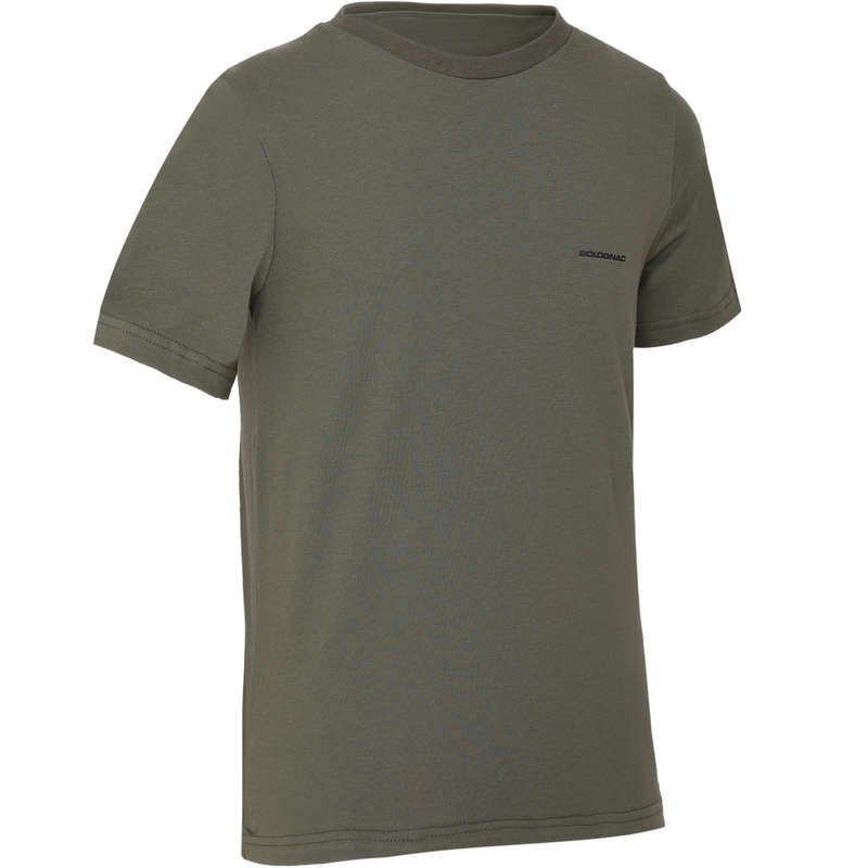 JUNIOR CLOTHING Shooting and Hunting - 100 JUNIOR T-SHIRT GREEN SOLOGNAC - Hunting and Shooting Clothing