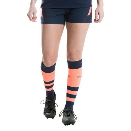 Short De Rugby Offload R500 Mujer Azul Marino Rojo Coral