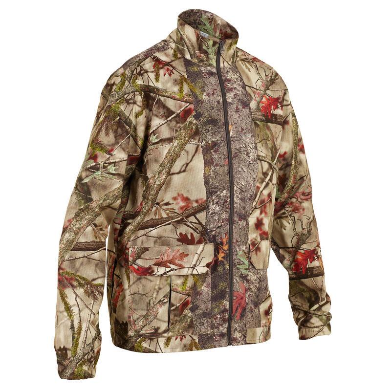 Lovecká bunda větrovka 100 maskovací s motivem lesa