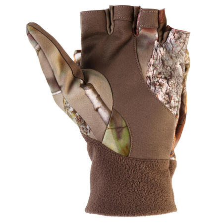 Hunting Silent Fingerless Gloves & Mittens - Brown Camo