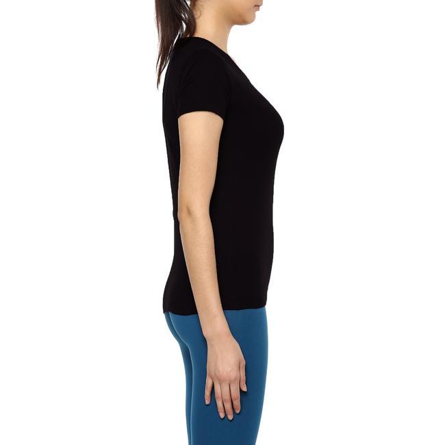Women's Gym T-Shirt Regular Fit Sportee 100 - Black