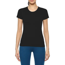 Women's Gym T-Shirt Regular Fit Sportee 100 - Black
