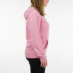 Trainingshoodie dames 520 roze met opdruk