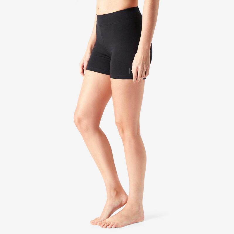 女款修身剪裁短褲Fit+ 500 - 黑色