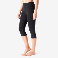 3/4-Hose aus Baumwolle Fitness Fit+ schwarz