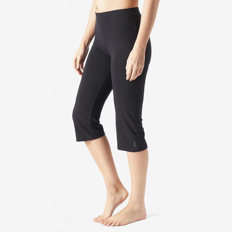 Fit+ 500 Women's Regular-Fit Pilates & Gentle Gym Cropped Bottoms - Black