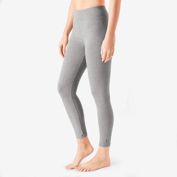 Women's Slim-Fit Pilates & Gentle Gym Sport 7/8 Leggings Fit+500 - Mottled Grey