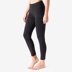 女款修身剪裁皮拉提斯與溫和健身7/8分緊身褲Fit+500 - 黑色