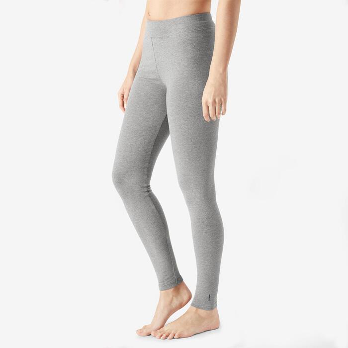 Legging sport taille haute Fit+ 500 femme en coton bleu gris