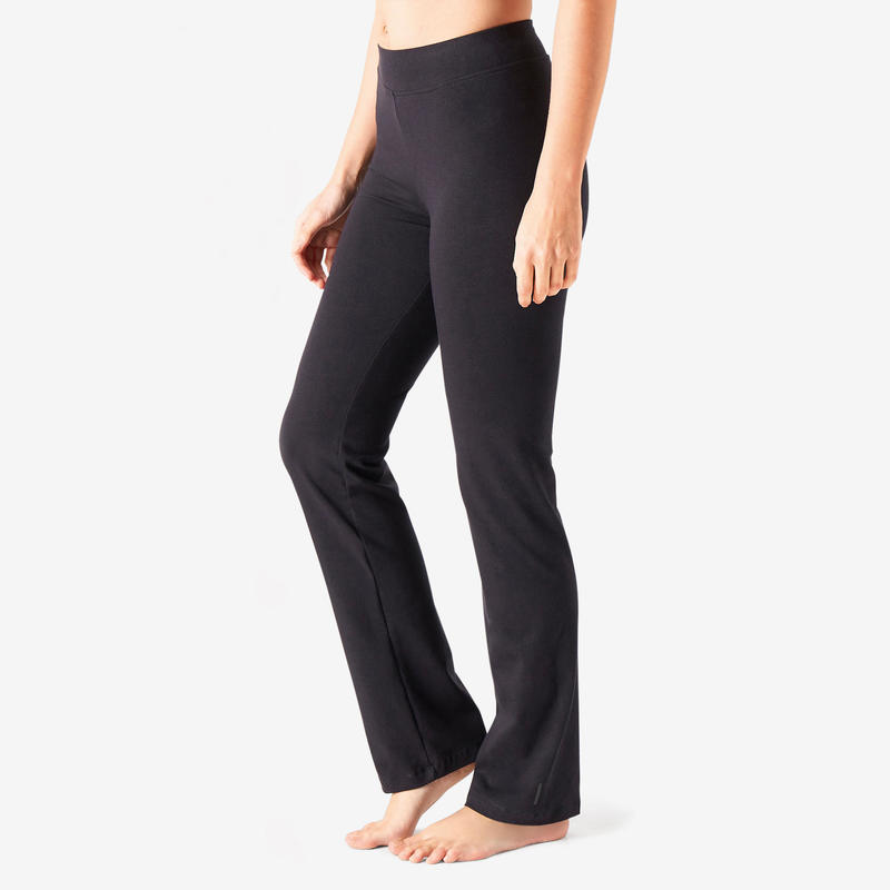 Straight-Cut Cotton Fitness Leggings Fit+ - Black