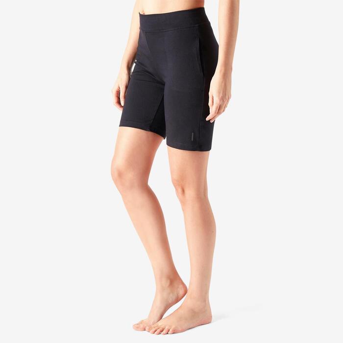 Short voor pilates en lichte gym dames Fit+ 500 regular fit zwart