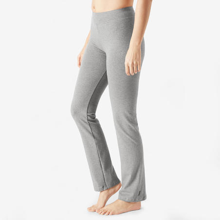 Straight-Cut Cotton Fitness Leggings Fit+ - Grey