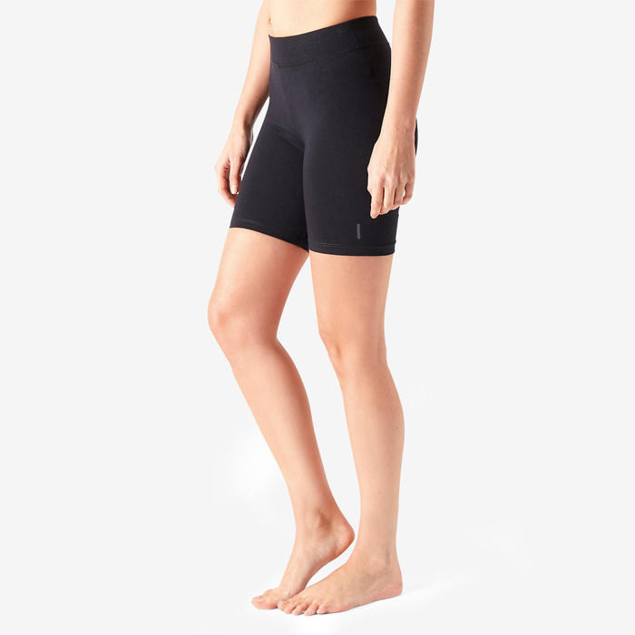 Korte tight voor pilates en lichte gym dames Fit+500 slim fit zwart
