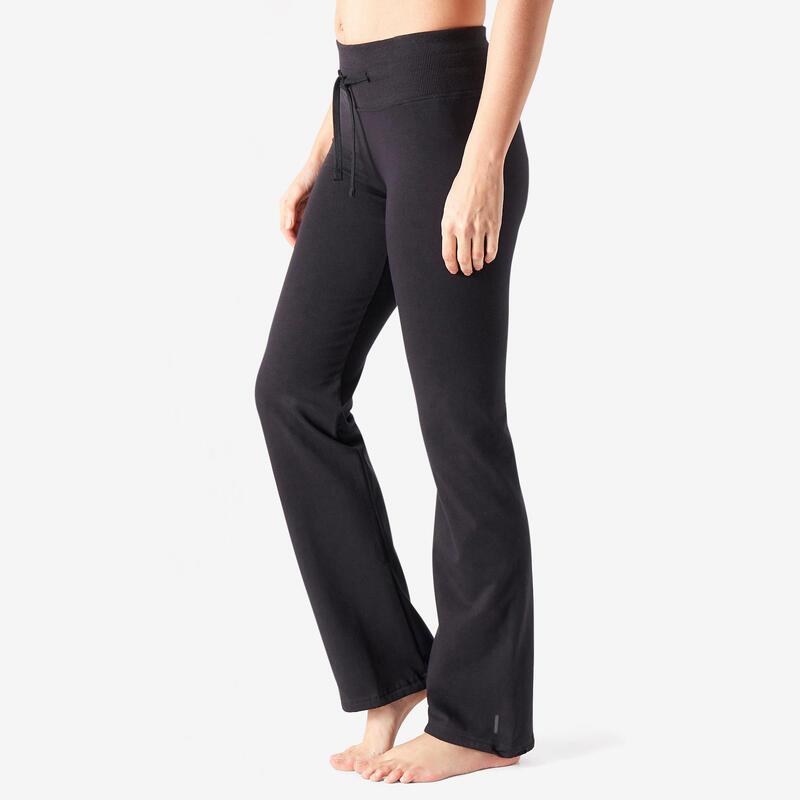 Legging voor fitness Fit+ katoen recht model aan te spannen aan de enkels zwart