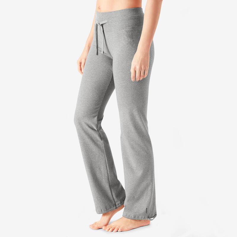Legging voor fitness Fit+ katoen recht en aan te spannen aan enkels gemêl. grijs