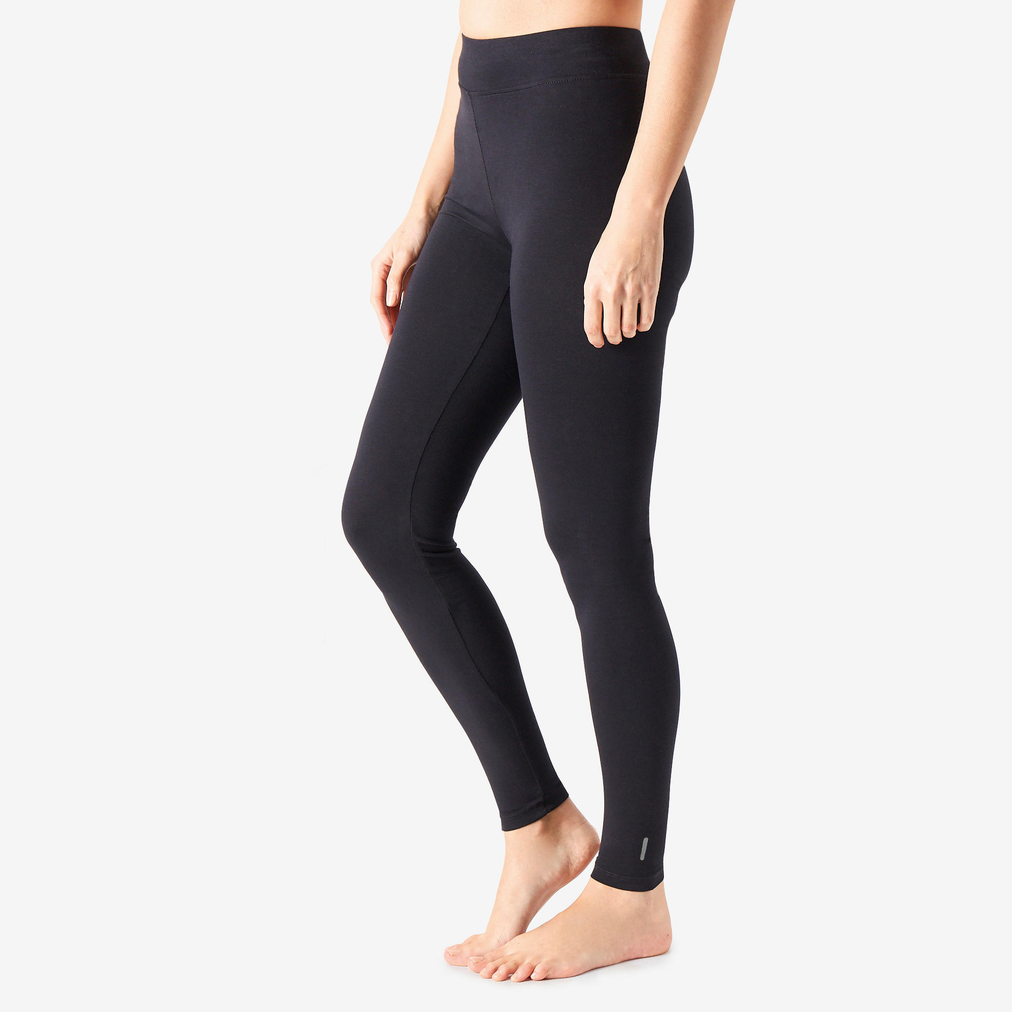 Leggings Fitness Fit+ Baumwolle Damen schwarz