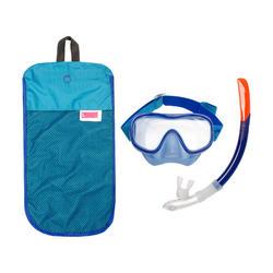Kit de Snorkeling Masque, Tuba SNK 520 Adulte bleu