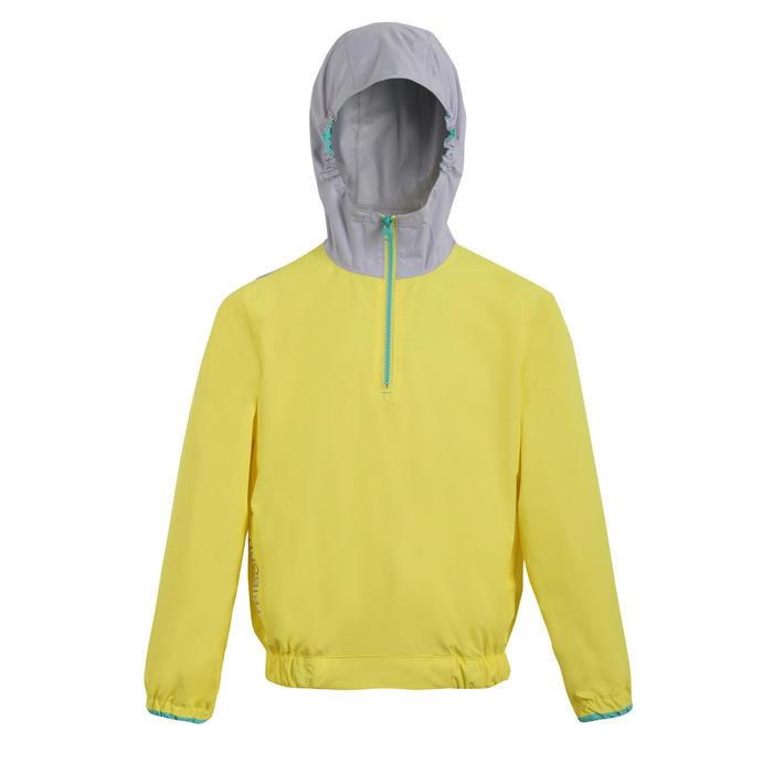 Dinghy 100 windproof child's anorak yellow/grey