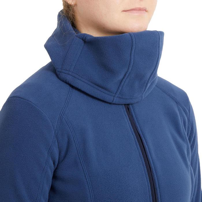 Fleece voor paardrijden dames 2-in-1 capuchon nachtblauw